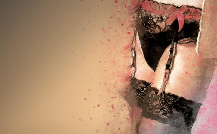 Μαύρες ζαρτιέρες σε γυναίκα, ζωγραφιστή εικόνα