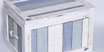 ξυλινο κουτι ασπρο με γαλαζιο